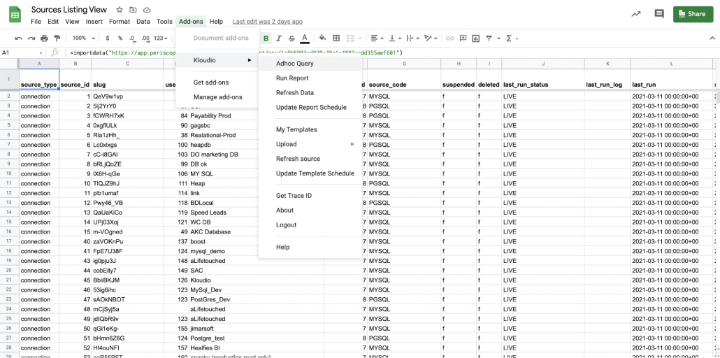 sql in google sheets kloudio adhoc query feature product update